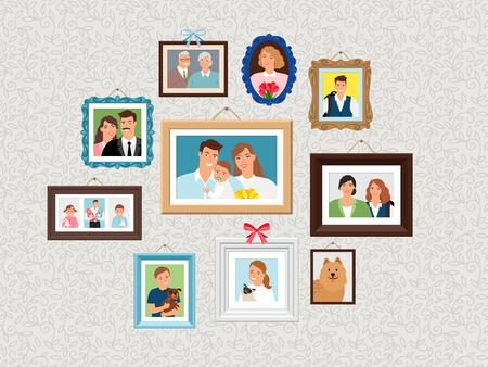 Ensemble de cadres familiaux. Photos de portraits de personnes, photoportraits de visages sur le mur avec enfants et chien, femme et grands-parents illustration vectorielle
