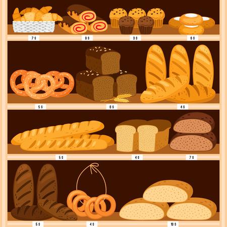 Étagères à pains d'épicerie. Vitrine bois pain et viennoiseries fraîches, produits de boulangerie en intérieur bois. Bagel et pain tranché brun, beignets et gâteaux au fromage vector illustration Vecteurs