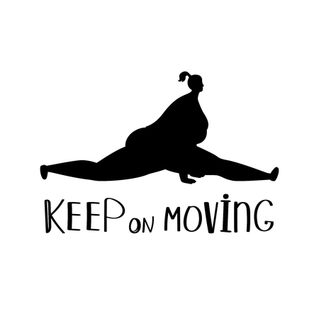 Keep on moving background with fat women sporty black silhouette, vector illustration 일러스트