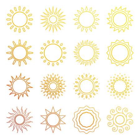 Red, yellow, orange line sun icons vector collection