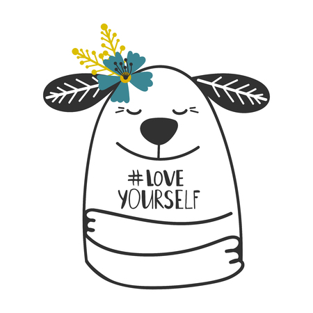 Cute doodle dog girl print with hashtag Love yourself vector illustration
