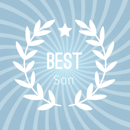 Wreath award best son vector background with star in blue color.
