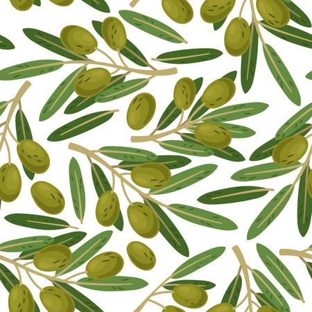 Patrón sin fisuras de la rama de olivo. Textura de ramas de aceitunas griegas sobre fondo blanco, Ilustración de vector de comida sana de verano