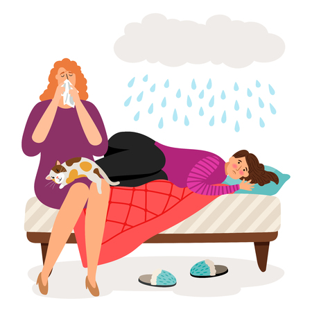 Cute depressed girls and rain. Depression, psychological disorder vector concept Illustration