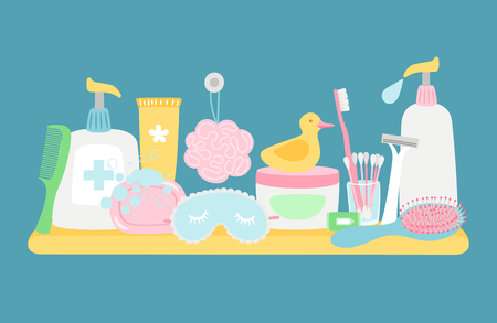 Bathroom hygiene accessorises and cosmetics vector composition on blue background