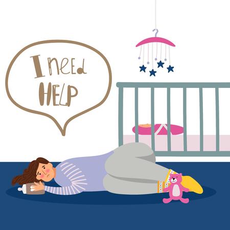 Postpartum or postnatal depression. Vector tired woman and newborn illustration