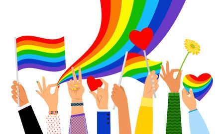Lgbt hands. Hand holding pride flag or transgender sign isolated on white background, vector illustration