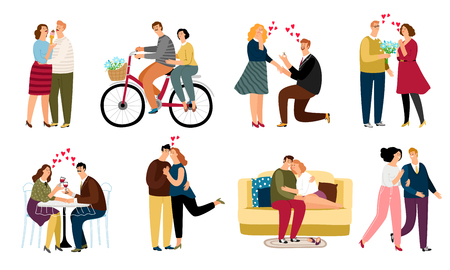 People in love, daiting couples icons set on white background, vector illustration