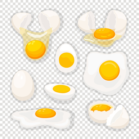 Eggs on transparent. Fried egg set isolated, vector omelet and broken eggshell with whole yolk for breakfast fry