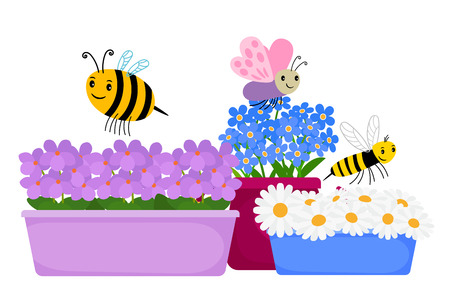 Blossom flowers in pots and cute cartoon insects - spring, summer floral illustration. Blossom spring flower, plant pot and insect