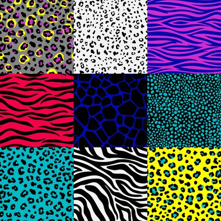 Animal skin patterns set. Leopard spots and zebra stripes backgrounds, safari giraffe, jungle snake print seamless texture frames, colorful abstract animals skins, illustration Vetores