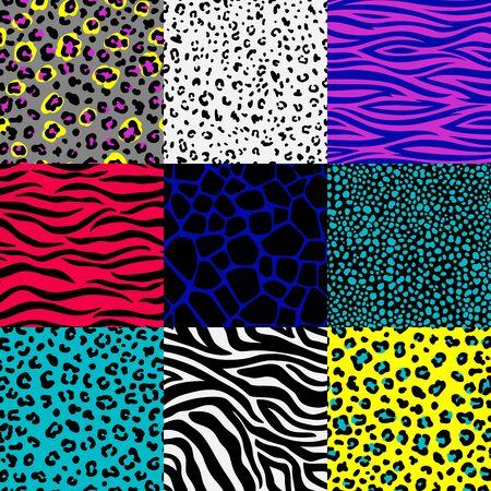 Set di modelli di pelle animale. Macchie di leopardo e sfondi a strisce zebrate, giraffa safari, cornici senza cuciture con stampa serpente della giungla, pelli di animali astratti colorati, illustrazione Vettoriali