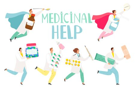 Doctors rescue. Medical workers superheroes with medications and pills help with colds and headaches, clinical care hospital team for health, illustration