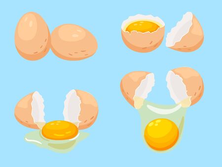 Cartoon eggs icons set. Whole and broken eggs, breakfast cooking ingredients illustration