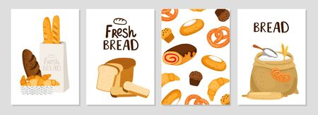 Fresh bread cards. Illustration