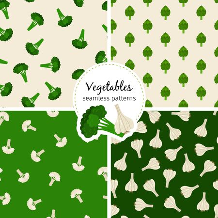 Vegetable seamless patterns set with cauliflower, broccoli, artichokes and garlic illustration