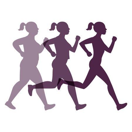 Concetto di vettore di trasformazione femminile. Donna che fa jogging per dimagrire Vettoriali