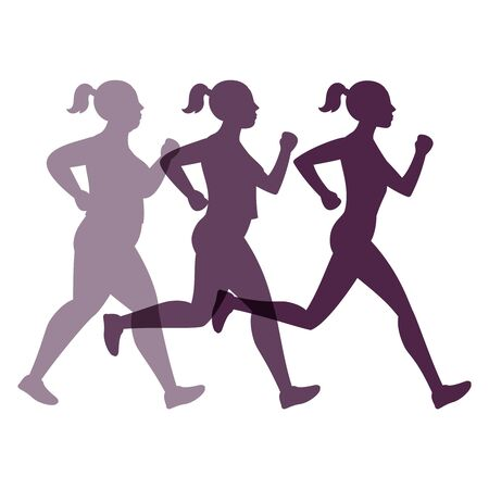 Female transformation vector concept. Jogging weight loss woman Vektoros illusztráció