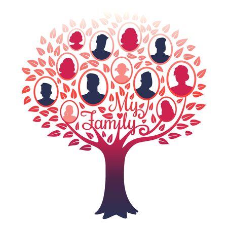 My family genealogy tree vector isolated on white background. Illustration of tree family, genealogical frame