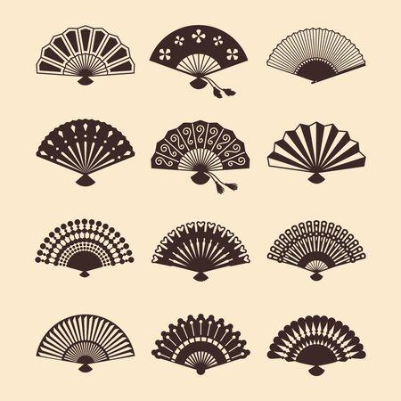 Vintage elegant oriental fans of set vector silhouettes. Oriental fan chinese, decoration japanese souvenir illustration Vettoriali