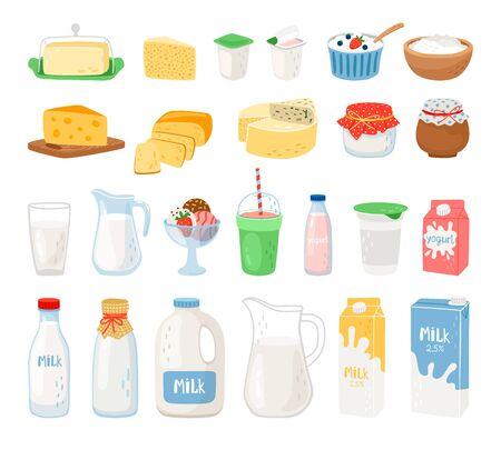 Latticini, latte, yogurt al formaggio e gelato. Formaggio e latte, cibo sano. Illustrazione vettoriale Vettoriali