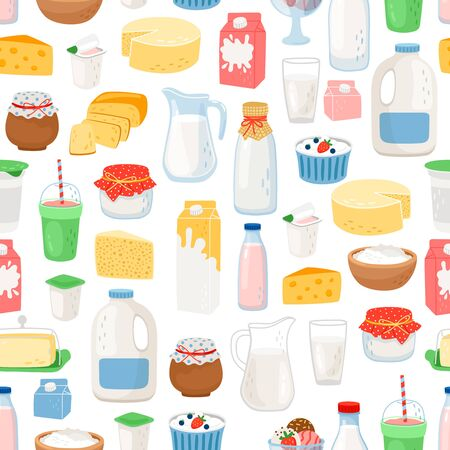 Milk and diary products pattern with white background, vector illustration Çizim