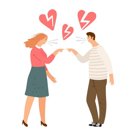 Broken hearts. Vector divorce concept. Angry woman and man scream Illustration