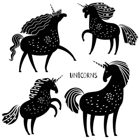 Black unicorn vector silhouettes. Unicorns in different poses stencil images isolated on white, legend mythic horse signs, vector magical beauty horses silhouette Фото со стока - 130829164