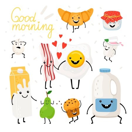 Breakfast food items, happy smiling cartoon diary products, bread amd fruit characters on white background, vector illustration