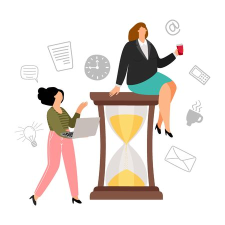 Time management concept. Flat businesswoman and her secretary. Woman sitting on hourglass, productivity vector illustration