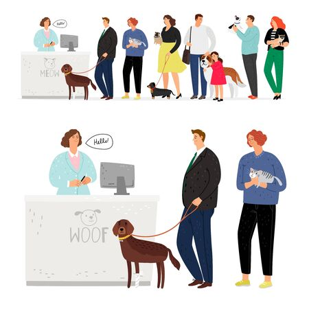 Cat and dog hospital queue. Pet patients, animals owners waiting veterinary service, woman holding cat, man leads dog on leash in emergency clinic receptionist room, vector illustration