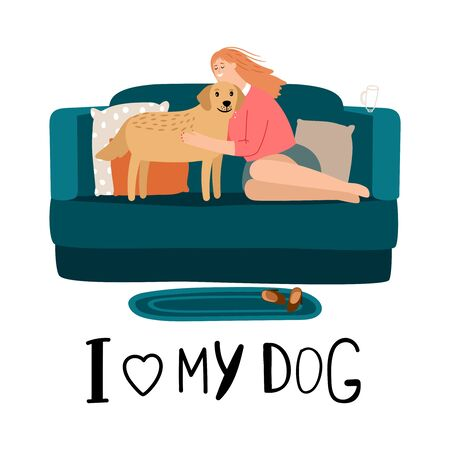 I love my dog vector concept. Woman hugs her dog illustration  イラスト・ベクター素材