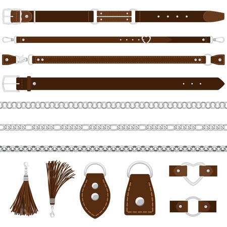Vector leather belts, silver chains, colars isolated on white background  イラスト・ベクター素材