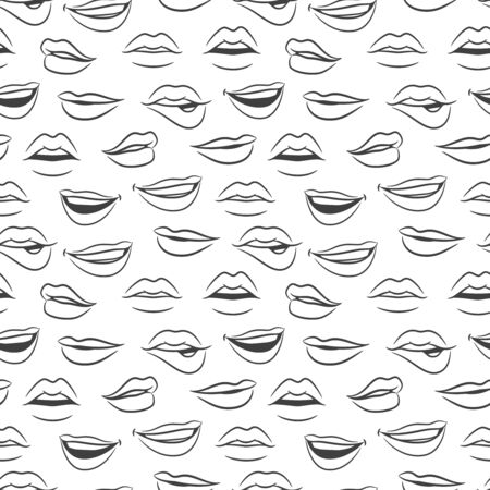 Sketched vector female sexy lips seamless pattern. Illustration of beauty sexy lips pattern, sketch female fashion Иллюстрация