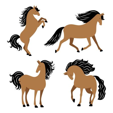 Cartoon horse in different poses vector isolated on white background. Illustration of animal horse with black mane Ilustrace