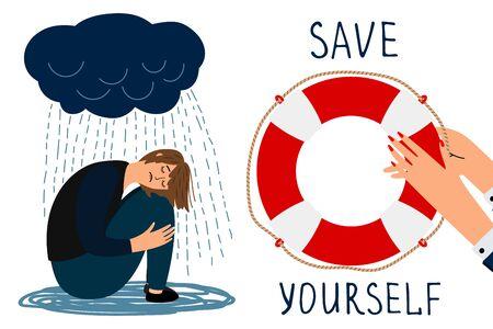 Save yourself vector concept. Depressed girl and lifebuoy illustration. Save yourself lifebuoy, under rain depressed  イラスト・ベクター素材