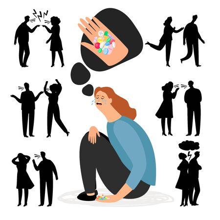 Antidepressants pills. Depression after quarrel or divorce. Depression health, antidepressant treatment, stress and unhappy illustration vector