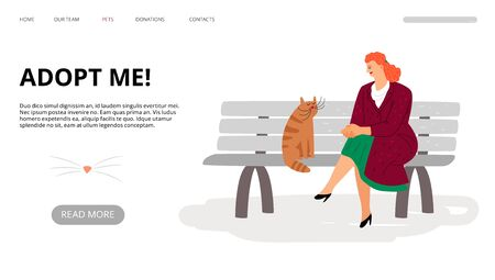 Pets adoption landing page. Adopt me web banner. Vector cartoon woman and cat are sitting on bench. Illustration of adopt me, animal pet domestic