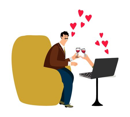 Online dating vector illustration. Happy man and notebook. Online chat couple in love. Online dating love, romance communication app