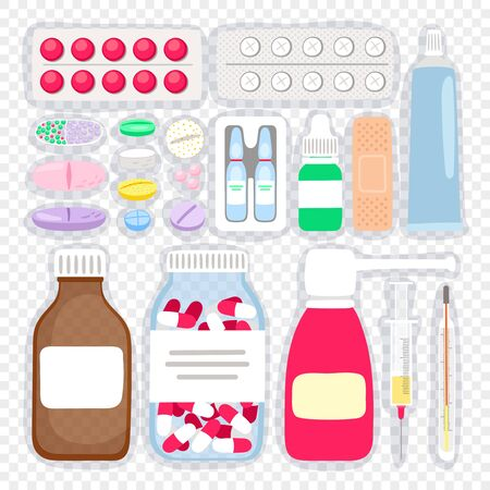 Cartoon medicines and pills. Medical supplies vector illustration, tablets and ampoules, syrup bottle and cough spray for flu and cold medication vector illustration Stock Illustratie