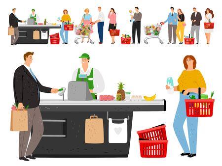 Coda per la spesa. Il negozio mette in coda le persone, i clienti del negozio al dettaglio di cartoni animati in fila lunga e il personale della cassiera, la folla del supermercato di generi alimentari in attesa, illustrazione vettoriale