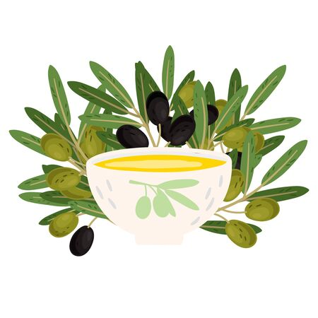 Bowl with fresh olive oil and olives branches vector illustration