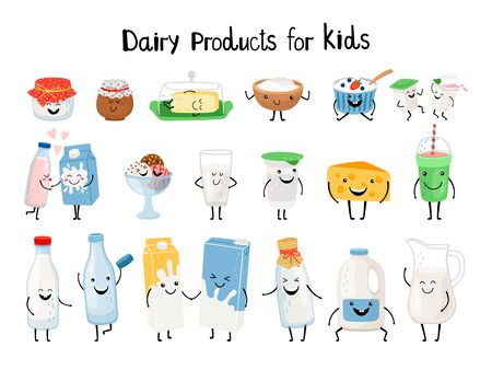 Dairy products for kids. Kid dairy snacking, kawaii organic yogurt and milk, yummy butter and cheese cream characters vector illustration isolated on background Ilustração