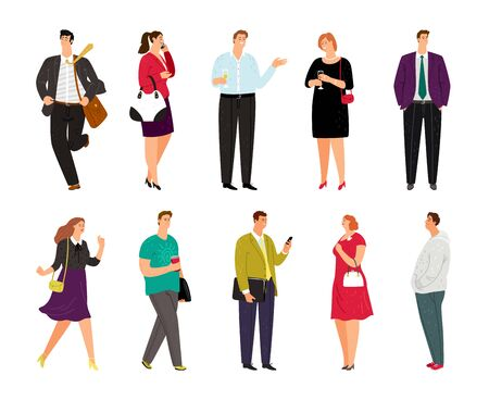 Cartoon casual people on white. Diverse happy people vector illustration, group of smiling human isolated persons, female and male business caucasian characters  イラスト・ベクター素材