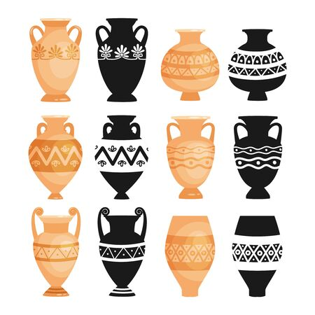 Ceramic ancient bowls. Ancients decorative pottery objects vector illustration, greece clay craft pots, earthenware urns and vases isolated on white background