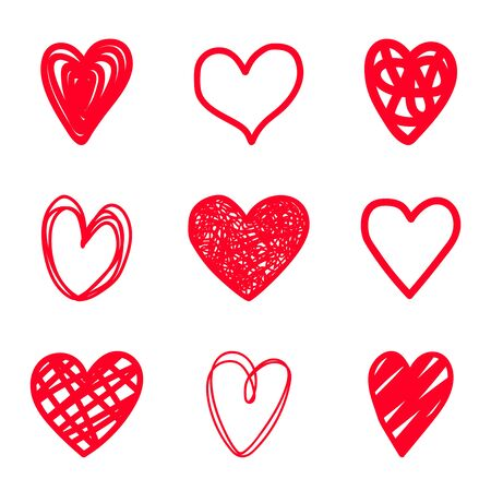 Red highlighter scribble hearts. Hand drawn heart set, pen scribbly simple vector abstract red love markers isolated on white background