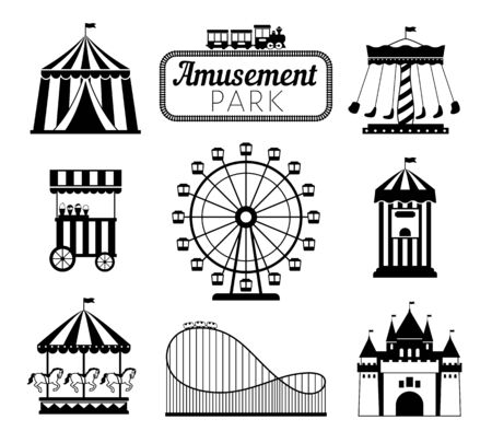 Amusement park black icons. Recreation fun attractions signs, carnival carrousel, circus ticket service, skyline train rollercoaster and festival fun tents symbols Illustration