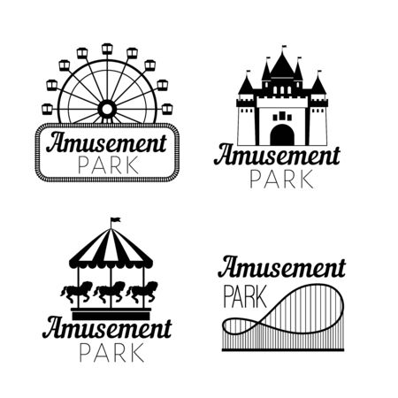 Black amusement park emblems. Carnival funfair with ferris wheel, horse carousel, castle silhouette, roller coaster for circus stamps and festive image concepts Stock Illustratie