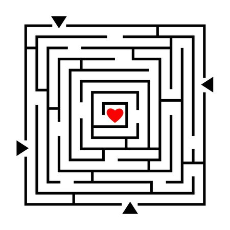 Labyrinth to heart. Love maze, how to find your love path, vector way finding gaming concept abstract design, relationship or wedding game puzzle Иллюстрация