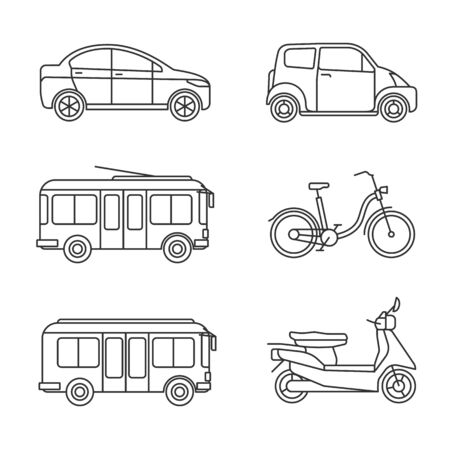 City transport thin line icons. Vector linear transportation icon set, outline car and bus images, bike and taxi, motorcycle and trolley isolated on white background